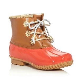 Jack Rogers | peach leather Chloe duck boots